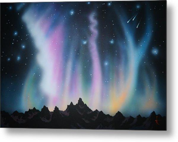 Aurora Borealis In The Rockies Metal Print