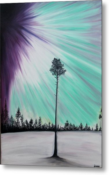 Aurora-oil Painting Metal Print by Rejeena Niaz