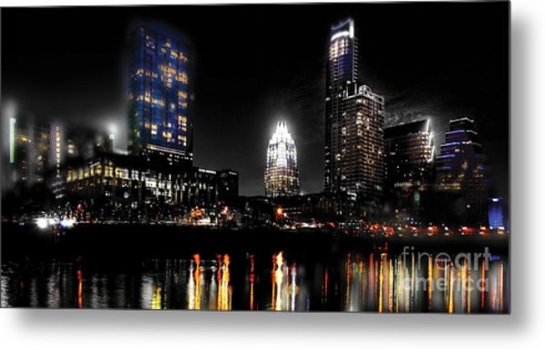 Austin Night Skyline Reflections  Metal Print