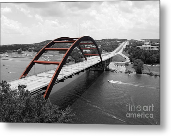 Austin Texas Pennybacker 360 Bridge Color Splash Black And White Metal Print