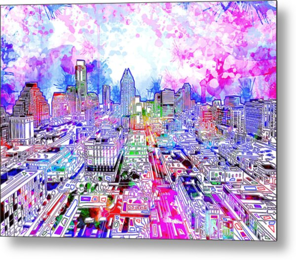 Austin Texas Watercolor Panorama Metal Print