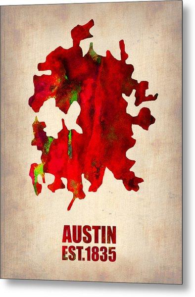 Austin Watercolor Map Metal Print