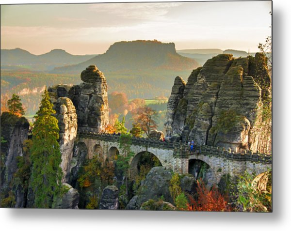 Autumn Afternoon On The Bastei Bridge Metal Print