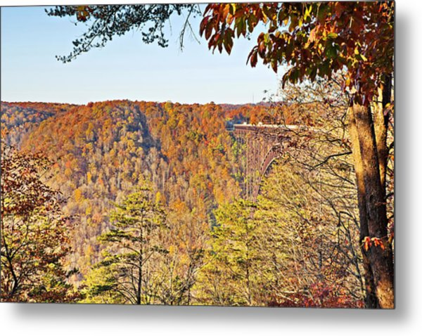 Autumn At The New River Gorge Single-span Arch Bridge Metal Print