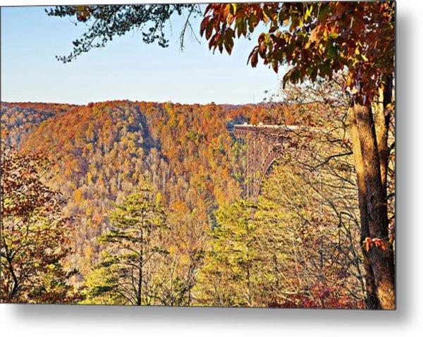 Autumn At The New River Gorge Single-span Arch Bridge Metal Print