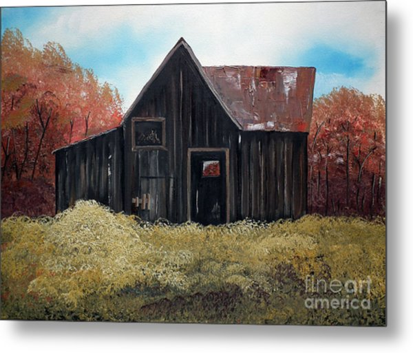 Autumn - Barn -orange Metal Print