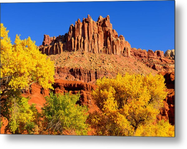 Autumn Beneath The Castle Metal Print