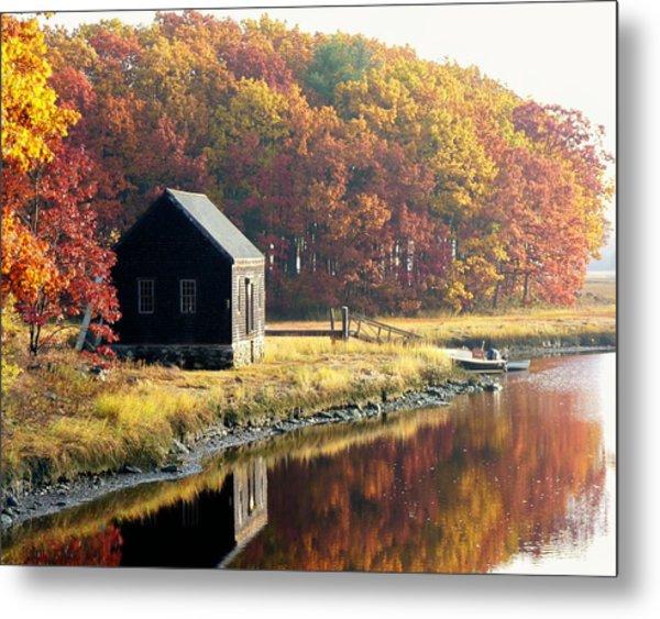 Autumn Boathouse Metal Print