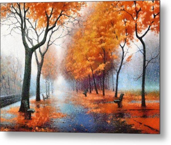 Autumn Boulevard Metal Print