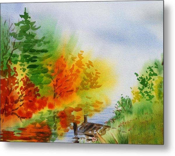 Autumn Burst Of Fall Impressionism Metal Print