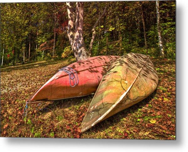 Autumn Canoes Metal Print