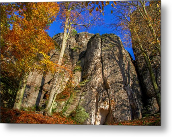 Autumn Colors In The Saxon Switzerland Metal Print
