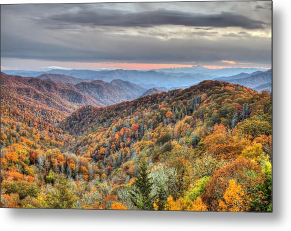 Autumn Colors On The Blue Ridge Parkway At Sunset Metal Print