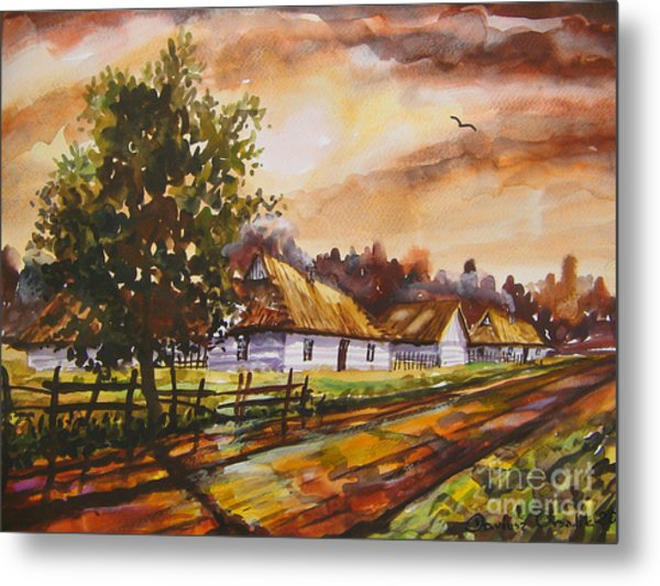 Autumn Cottages Metal Print