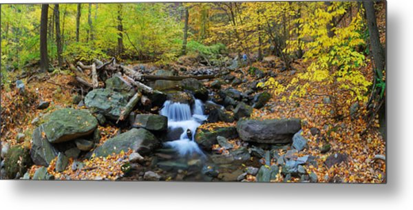 Autumn Creek Panorama With Yellow Maple Trees Metal Print