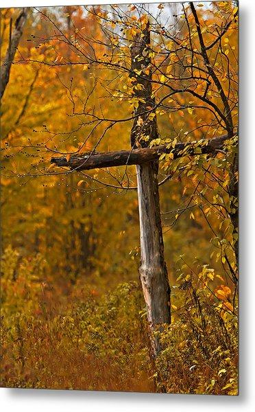 Autumn Cross Metal Print