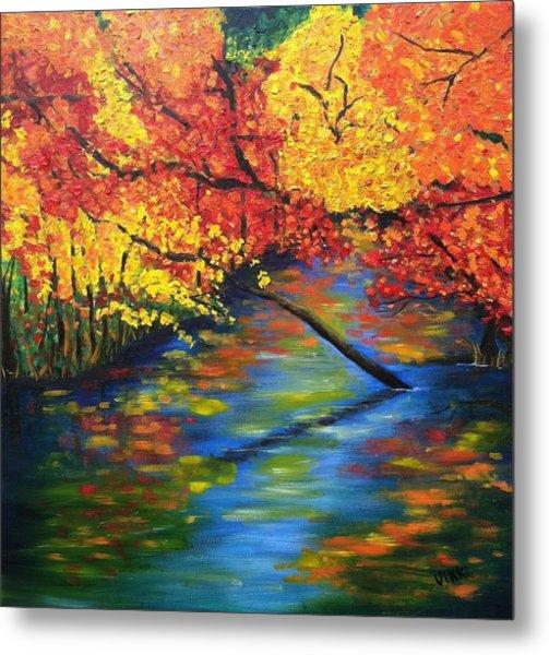 Autumn Crossing The River Metal Print