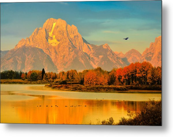 Autumn Dawn At Oxbow Bend Metal Print