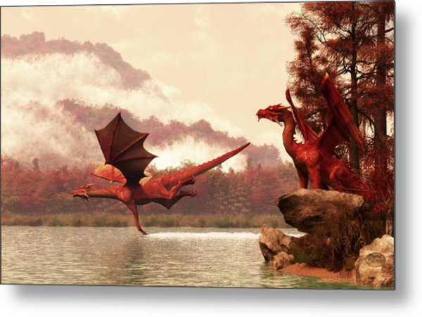 Autumn Dragons Metal Print