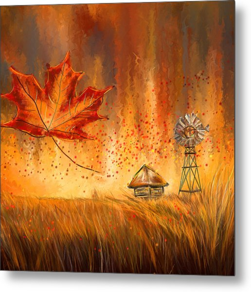 Autumn Dreams- Autumn Impressionism Paintings Metal Print
