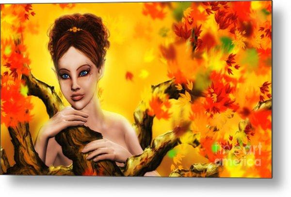 Autumn Elf Princess Metal Print