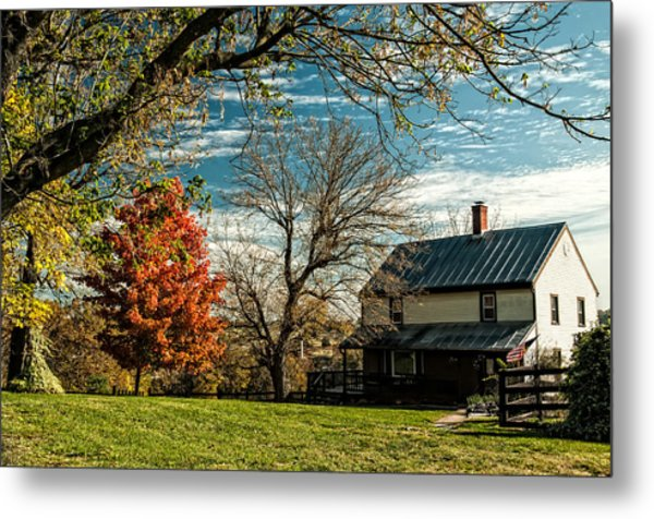 Autumn Farm House Metal Print