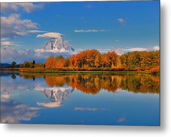 Autumn Foliage At The Oxbow Metal Print