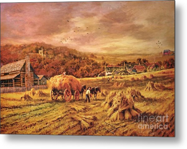 Autumn Folk Art - Haying Time Metal Print