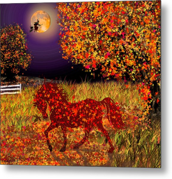 Autumn Horse Bewitched Metal Print