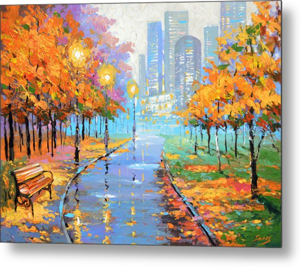 Autumn In The Big City Metal Print