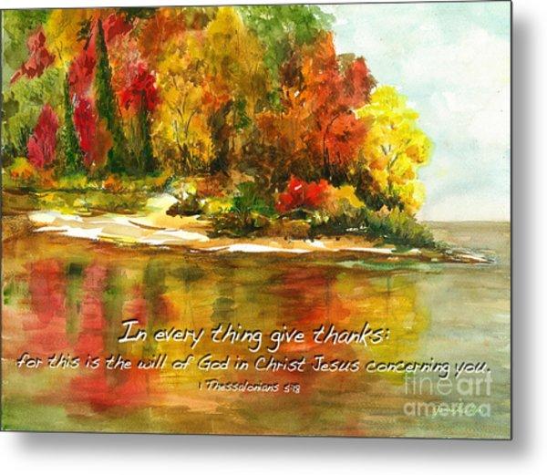 Autumn Lake 1 Thessalonians 5  Metal Print