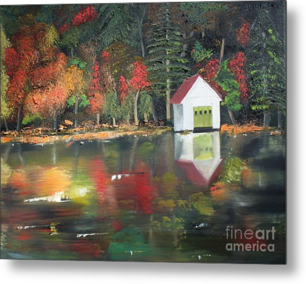 Autumn - Lake - Reflecton Metal Print