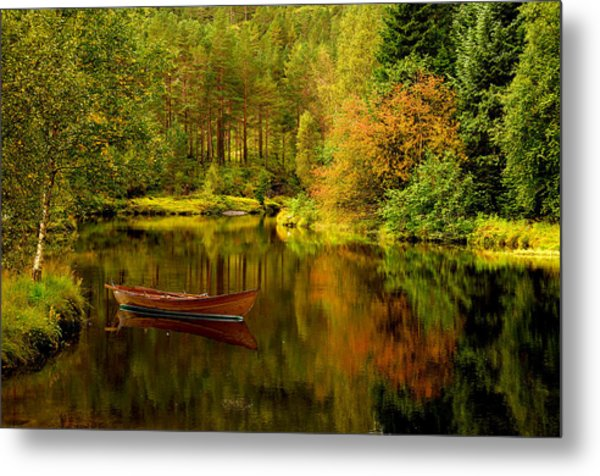 Autumn Lake With Boat Metal Print