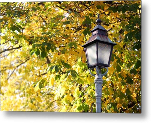 Autumn Lamp Post Metal Print