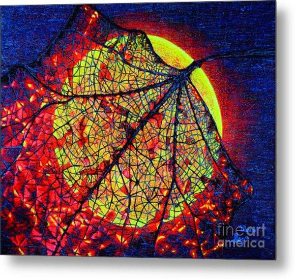 Autumn Leaf Moon Metal Print