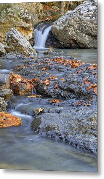 Autumn Leaves At Little Missouri Falls - Arkansas - Waterfall Metal Print