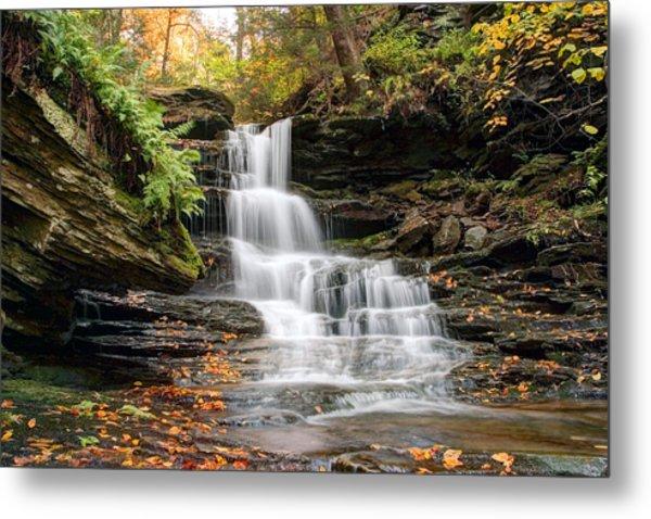 Autumn Leaves Below The Nameless Hidden Waterfall Metal Print
