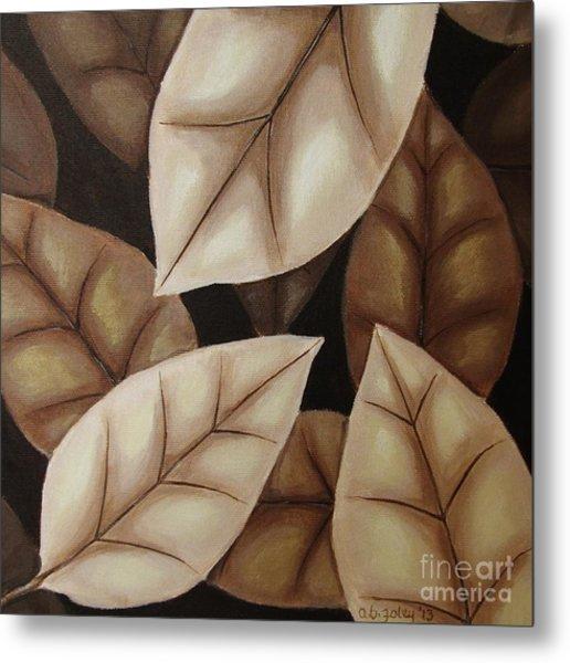 Autumn Leaves In Sepia Metal Print by Anna Bronwyn Foley