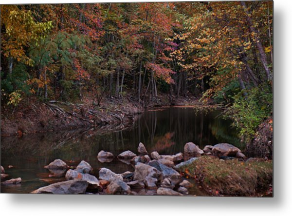 Autumn Leaves Reflecting In The Stream Metal Print