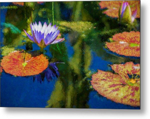 Autumn Lily Pad Impressions Metal Print