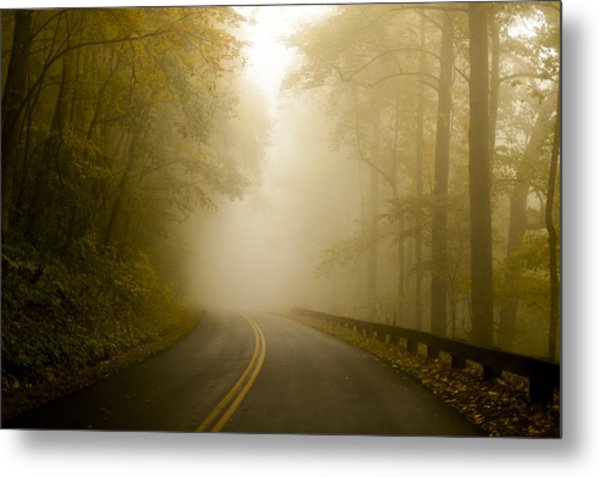 Autumn Mist Blue Ridge Parkway Metal Print