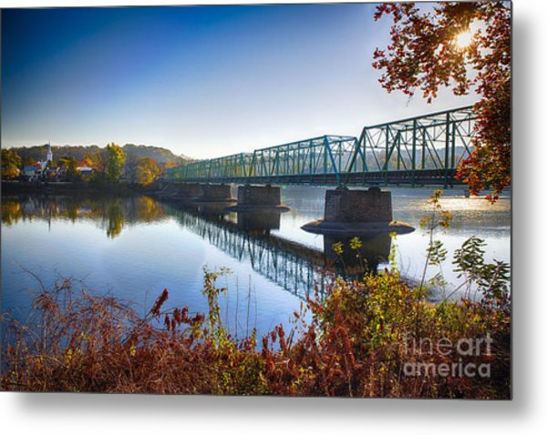 Autumn Morning View Of The New Hope Lambertville Bridge  Metal Print by George Oze