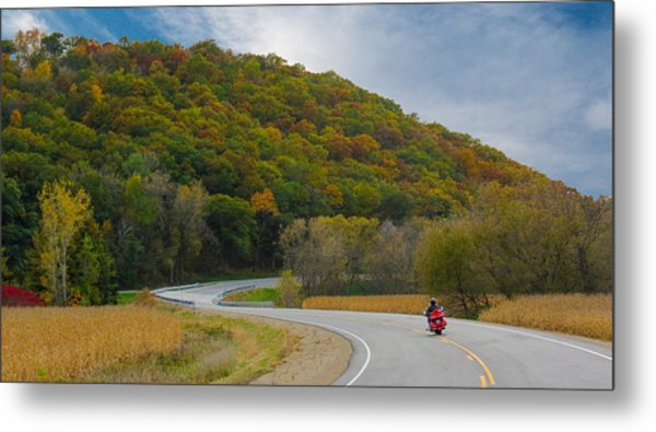 Autumn Motorcycle Rider / Orange Metal Print