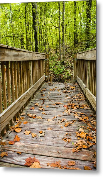 Autumn On The Bridge Metal Print