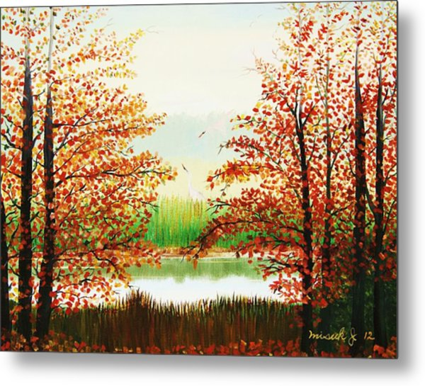 Autumn On The Ema River Estonia Metal Print