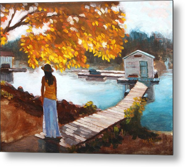 Autumn On The Mississippi Metal Print