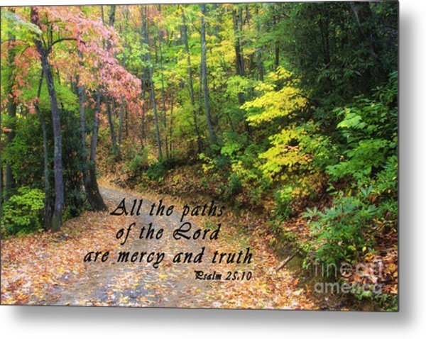 Autumn Path With Scripture Metal Print
