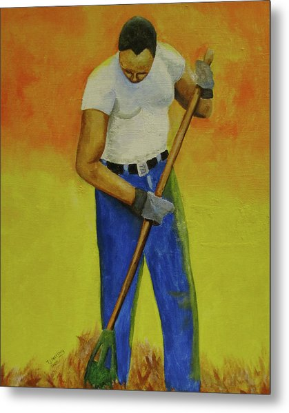 Autumn Raking Metal Print
