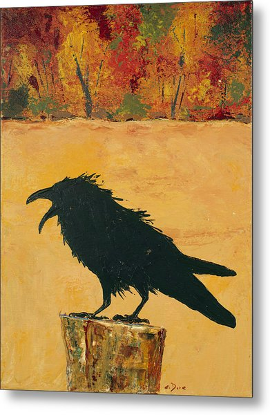 Autumn Raven Metal Print
