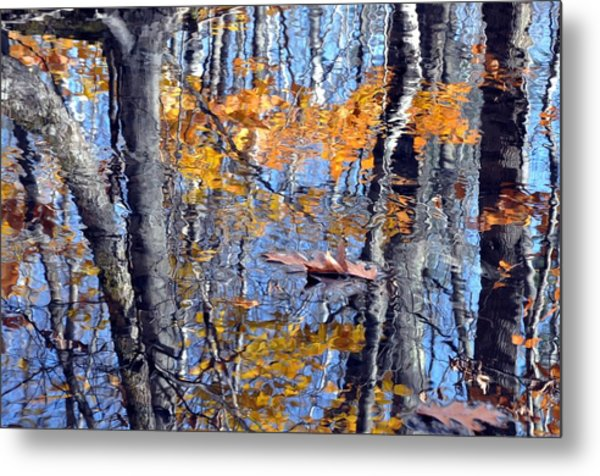 Autumn Reflection With Leaf Metal Print